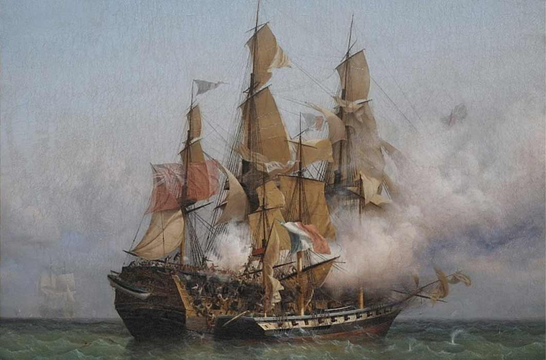 East Indiaman Kent battling Confiance, a privateer vessel commanded by French corsair Robert Surcouf in October 1800 by Ambroise Louis Garneray. (Public Domain)