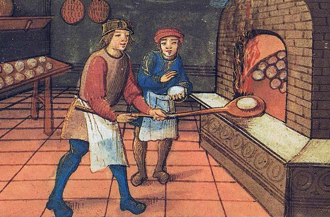 A medieval baker with his apprentice. The Bodleian Library, Oxford. (Public Domain)