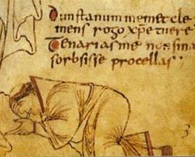 Possible self-portrait of Dunstan. From the Glastonbury Classbook, Anglo-Saxon, 10th century (Public Domain)