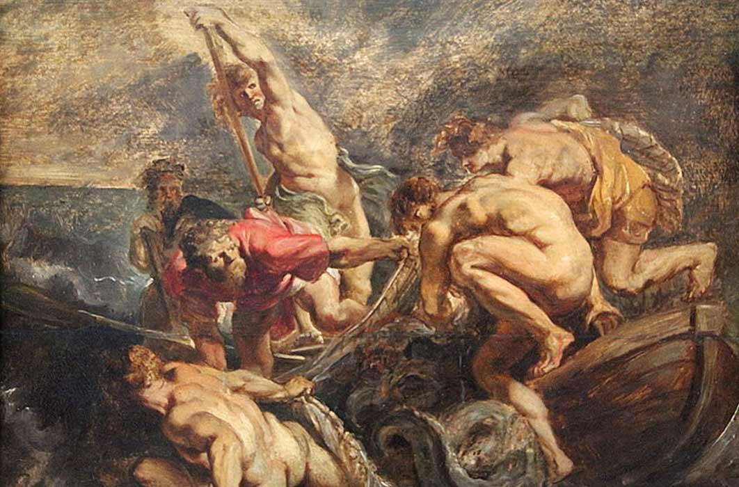 Miraculous draught of fish Peter Paul Rubens (1610) Wallraf Richards Museum, Köln (Public Domain)