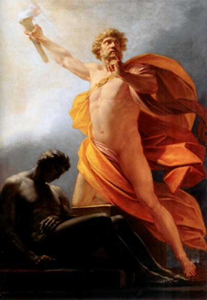 Prometheus brings fire to mankind as told by Hesiod (Public Domain)
