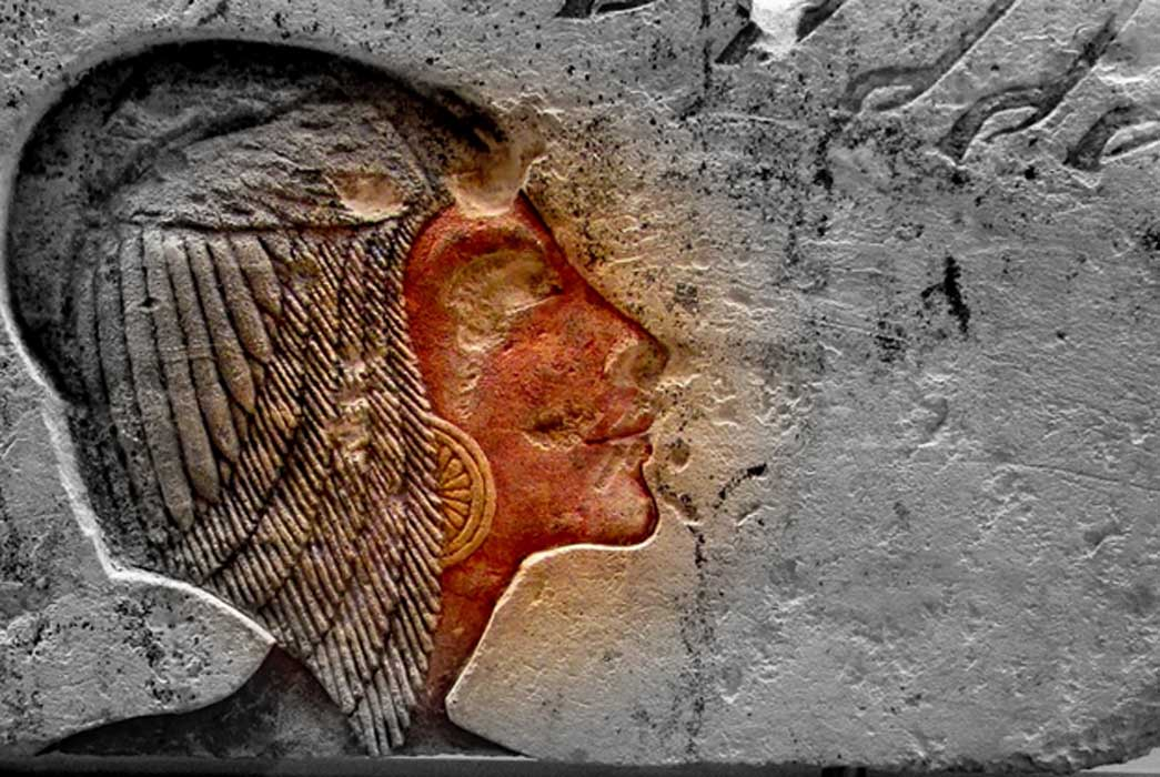 This painted limestone relief originally depicted Kiya, but was later recarved to portray Meritaten; design by Anand Balaji (Photo credit: Merja Attia, Ny Carlsberg Glyptotek, Copenhagen); Deriv.