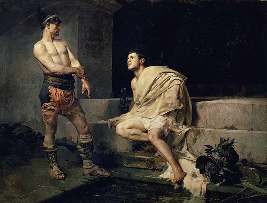 Gladiators after the fight, José Moreno Carbonero (1882) Museo del Prado.
