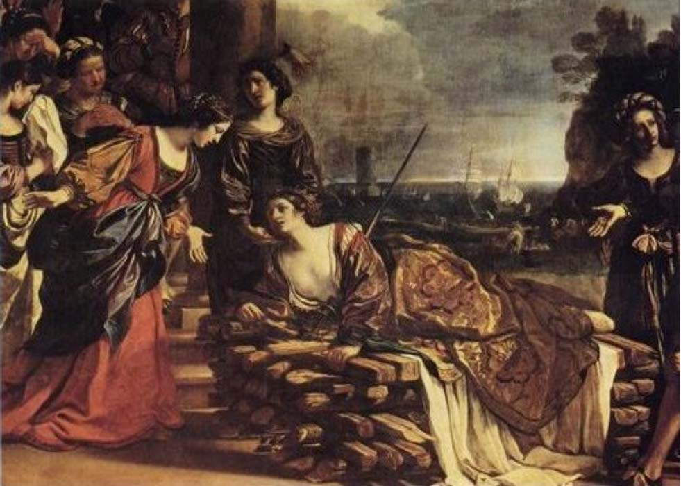 Suicide of Dido, a representation of Dido being rescued by her sister Anna, later identified with the Roman goddess Anna Perenna, by Guercino, 1625,