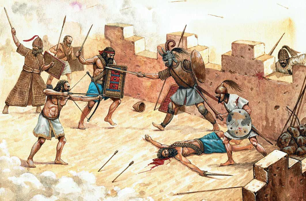 Attack of the Sea Peoples on Syrian fortification. Historical illustration. ( Lunstream / Adobe Stock)