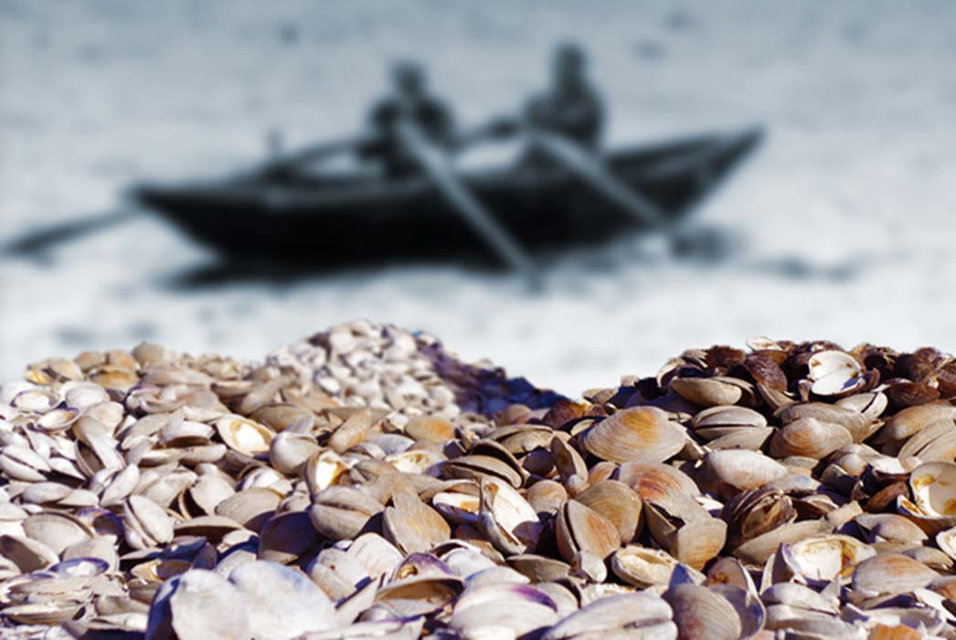 Piles of clamshells (Schvin/CC BY 2.0), background: men in a Curragh, a skin boat (WilliamMurphy/CC BY-SA 2.0);Deriv.