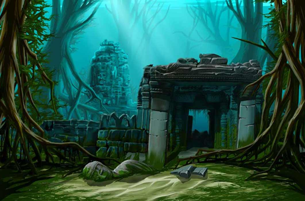 Ancient town ruins. Underwater background. Was Atlantis actually in India? Source: Regisser.com /Adobe Stock