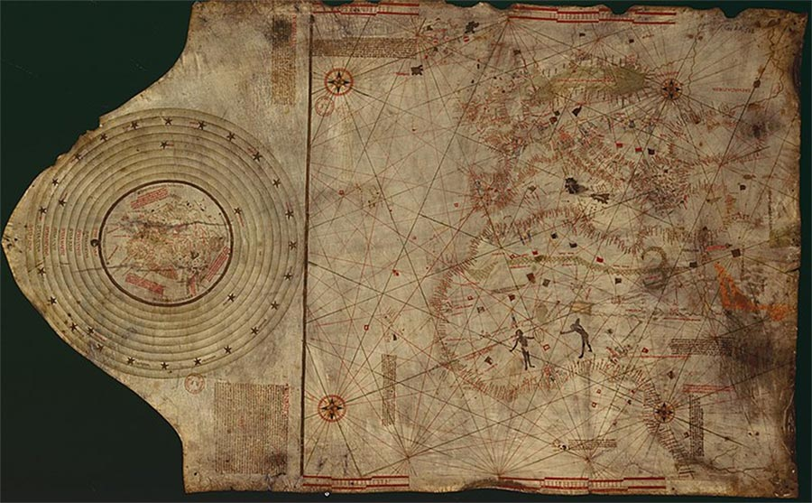 Suspected Christopher Colombus map. Lisbon, workshop of Bartolomeo and Christopher Colombus (c.1490)  (Gallica Digital Library/Public Domain)