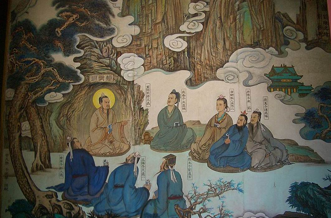 Tao priestess Sun Bu'er (in the middle of the top row) with the other Seven Masters of Quanzhen and their teacher, Wang Chongyang (Public Domain)