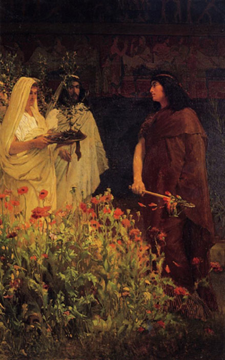 "Tarquinius Superbus by Lawrence Alma-Tadema, depicting the king receiving a laurel; the poppies in the foreground refer to the ""tall poppy"" allegory (Public Domain)"
