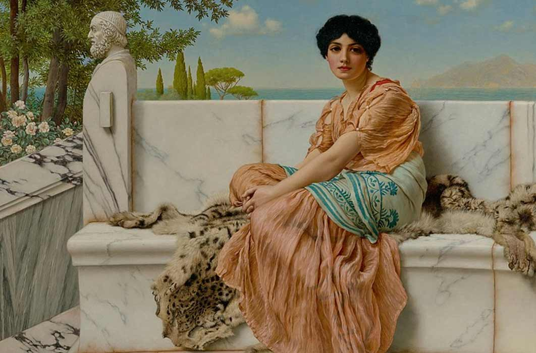 Reverie (In the Days of Sappho) by John William Godward ( c 1904) The Getty Centre LA. (Public Domain)  By