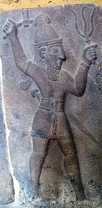 Teshub, God of Thunder. Hittite relief from Samal (now Zincirli). Pergamonmuseum, Berlin (Public Domain)