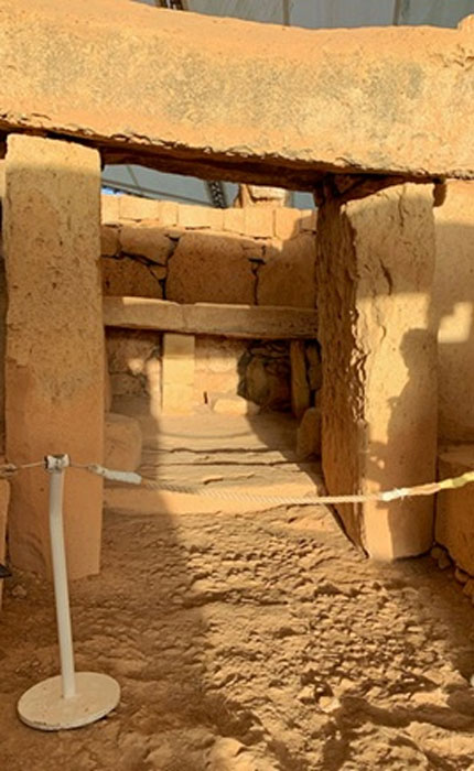 The 2019 rising Spring Equinox sun shines down the central corridor of Mnajdra Temple and touches the main altar at the end. (Image © Elyn Aviva)
