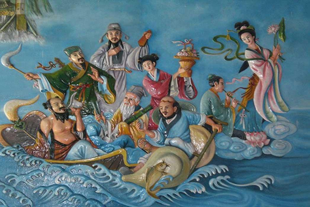 8 Immortals in a temple in Vietnam
