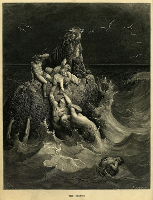 The Deluge, frontispiece to Gustave Doré's illustrated edition of the Bible. Based on the story of Noah's Ark, this engraving shows humans and a tiger doomed by the flood futilely attempting to save their children and cubs.(1866) (Public Domain)