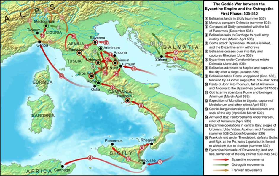 The Gothic War, covering the period from the first Byzantine attacks in 535 AD until the fall of Ravenna in 540 and the recall of Belisarius. (CC BY-SA 3.0)