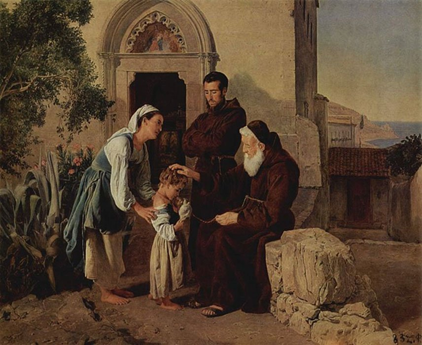 At the Monastery Gate by Ferdinand Georg Waldmüller (1846)