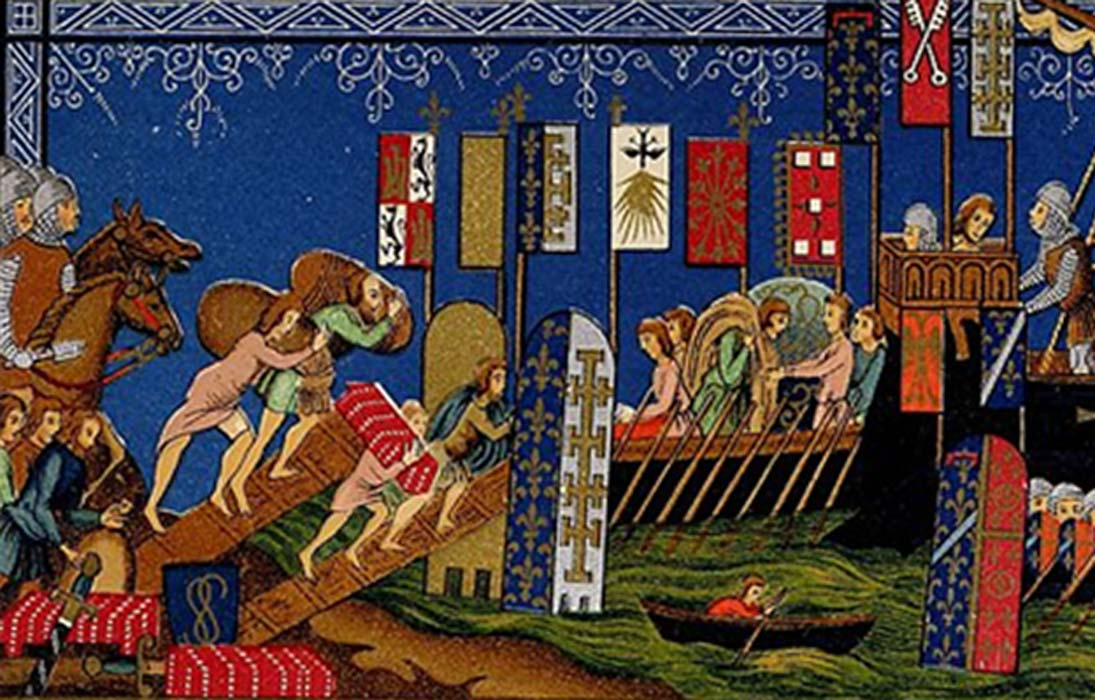 Knights of the Holy Ghost embarking on the crusades. After a miniature in a manuscript of the XIVth Century in the museum of the Louvre.