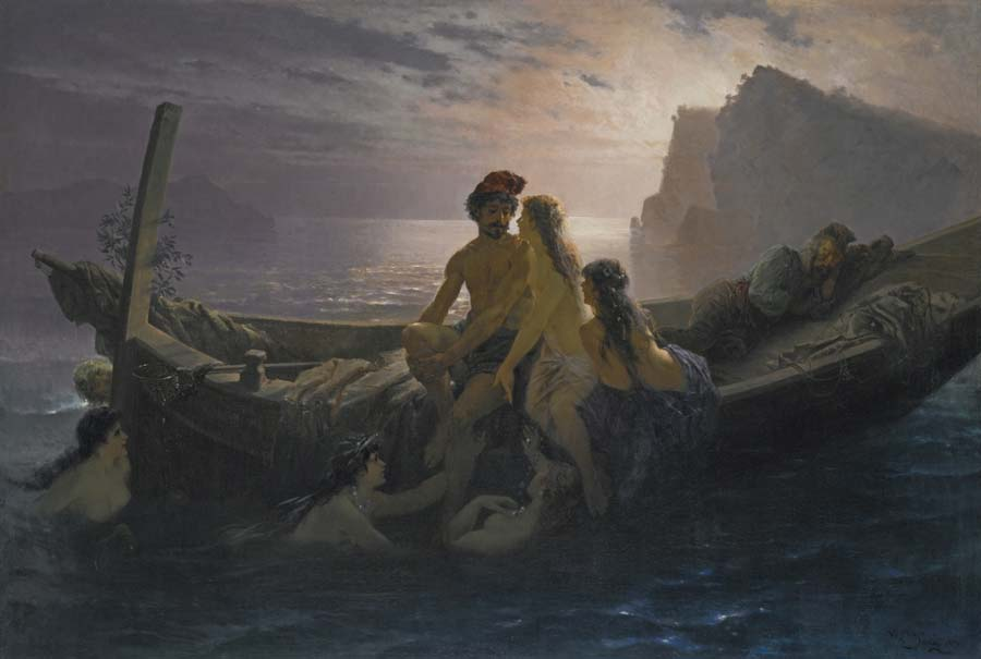 The Sirens by Wilhelm Kray (1828-1889) (Public Domain)