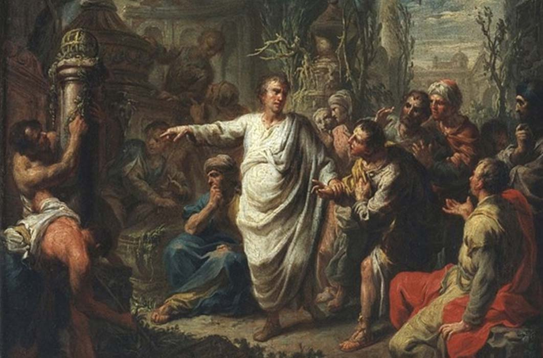 Cicero proudly shows his discovery of the 'Tomb of Archimedes' by Martin Knoller (1775) (Public Domain)