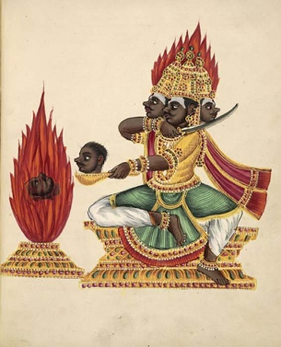 The three-headed Rakshasa Trishiras (1830) (Public Domain)