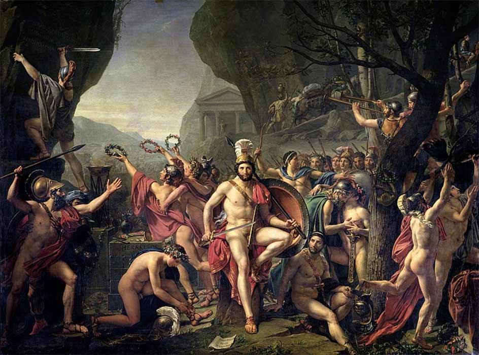 Leonidas at Thermopylae, by Jacques-Louis David (1814). (Public Domain)