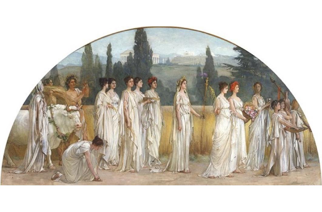 Top Image: Thesmophoria by Francis Davis Millet, 1894-1897 (Public Domain)