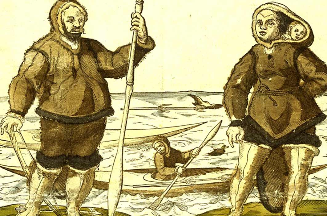 An anonymous 1578 illustration believed to show Kalicho (left), and Arnaq and Nutaaq (right) (Public Domain)