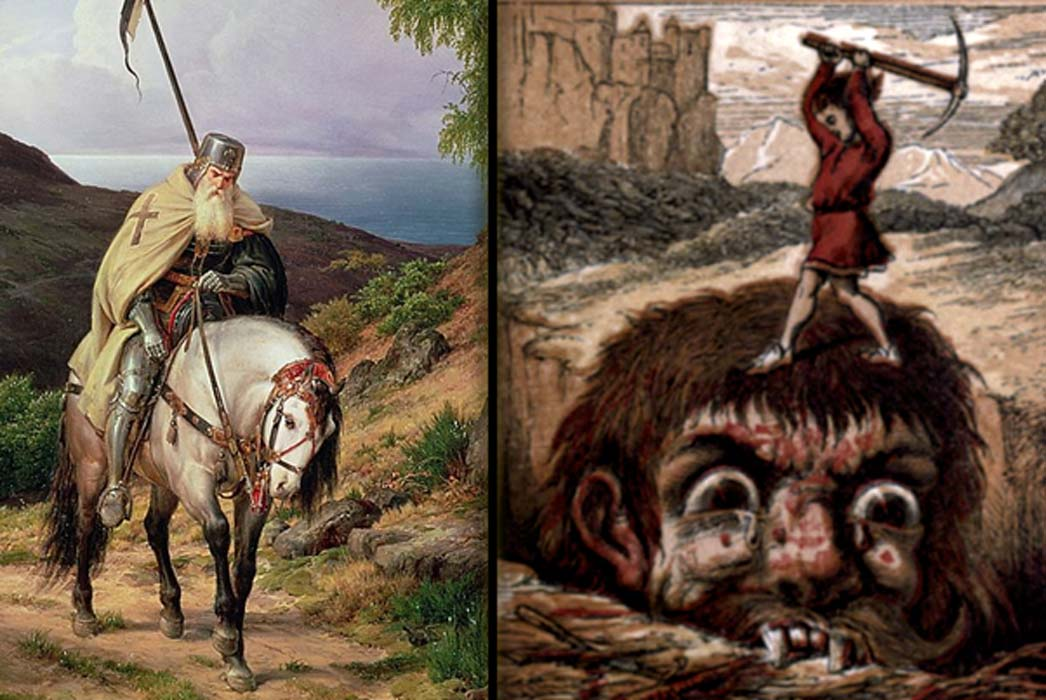 Features The Return of the Crusader by Karl Friedrich Lessing (Public Domain), and an illustration from Jack the Giant Killer (Public Domain)