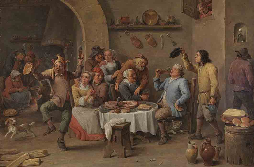 Twelfth Night (The King Drinks) by David Teniers (c. 1634-1640) (Public Domain)