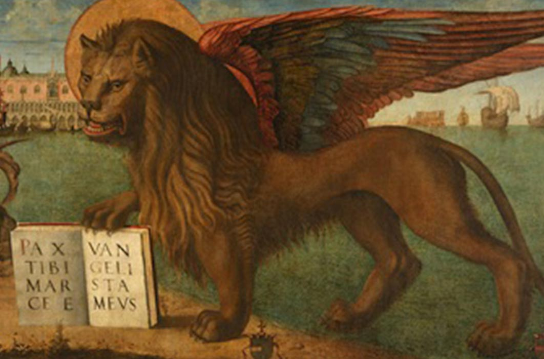 Mark the Evangelist's symbol is the winged lion, the Lion of Saint Mark. Inscription: PAX TIBI MARCE EVANGELISTA MEVS (