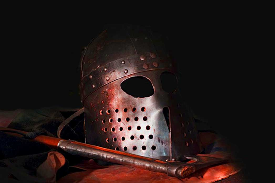 Recreated Viking helmet and weapon
