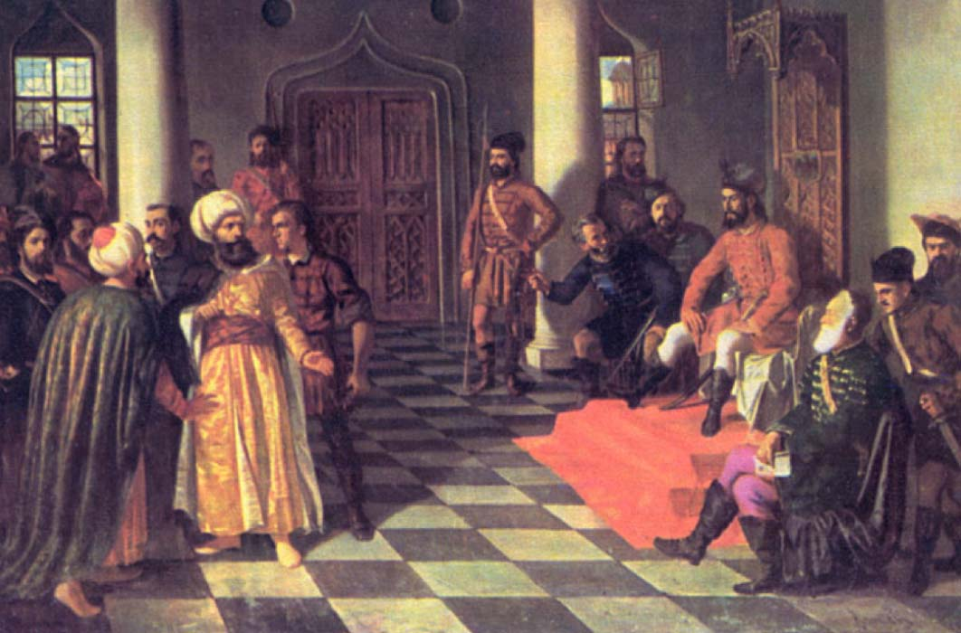 Vlad the Impaler and the Turkish envoys, painting by Theodor Aman (Public Domain)