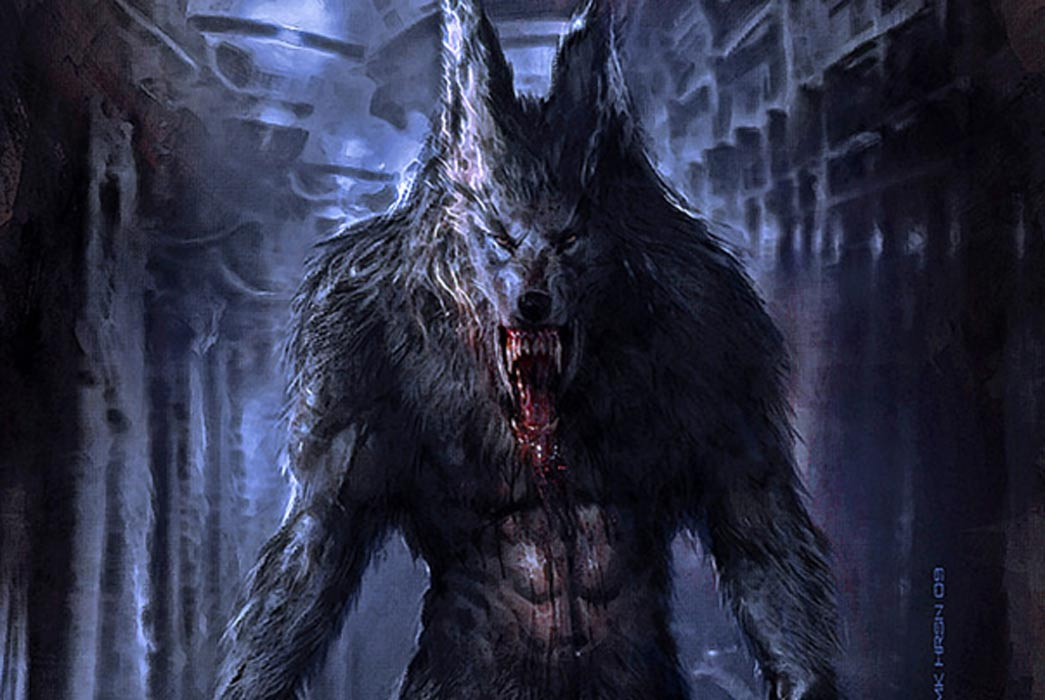 Detail, The ferocious and deadly werewolf.