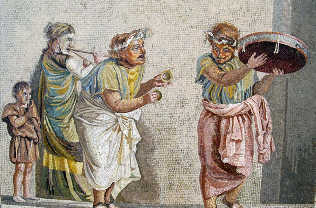 Trio of musicians playing an aulos, cymbala, and tympanum (mosaic from Pompeii) (CC BY-SA 3.0)