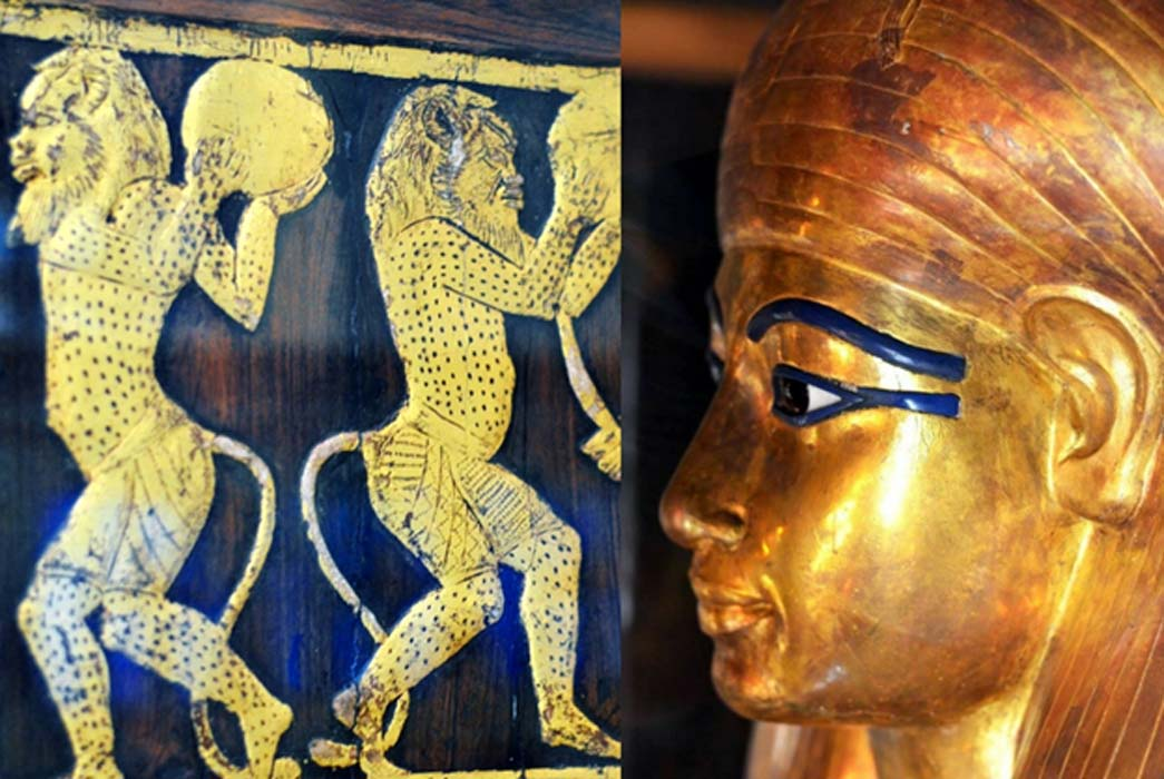 Dancing Bes figures on the left outer arm of the Sitamun's chair; and detail of the face mask of one of the coffins of Yuya; design by Anand Balaji