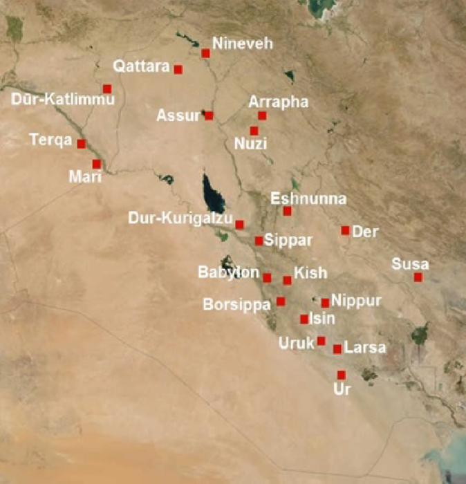 A map of Mesopotamia in 2nd millennium BC, showing Uruk. (CC BY-SA 2.5)