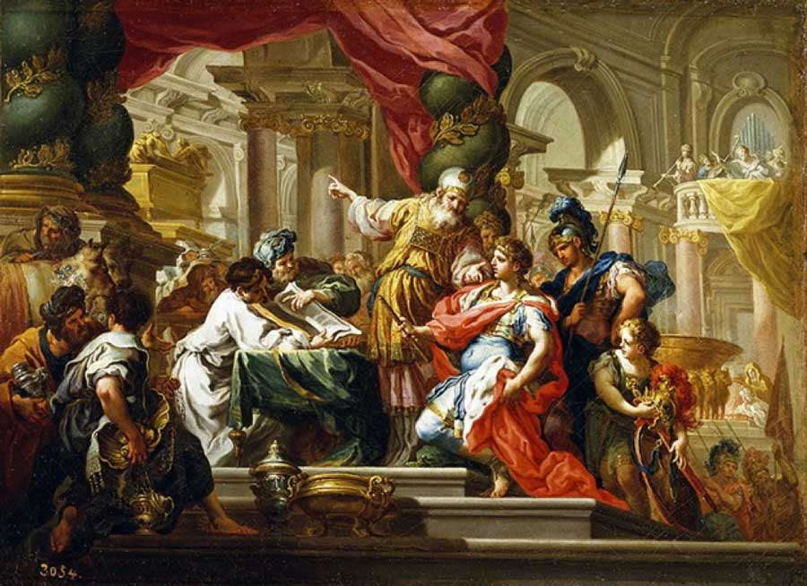 Alexander the Great in the Temple of Jerusalem by Sebastiano Conca (1736) Museo del Prado (Public Domain)