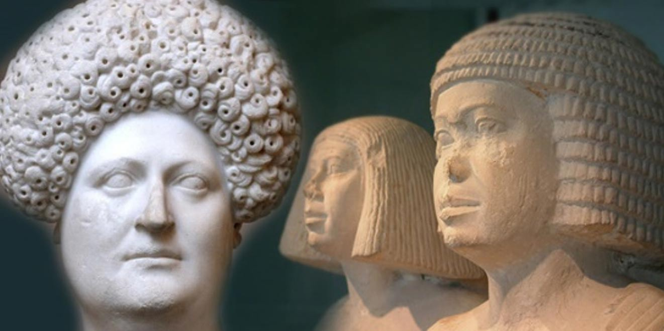 Deriv; Egyptian couple wearing formal wigs of the 4th of 5th dynasties and Bust of a Roman woman wearing a