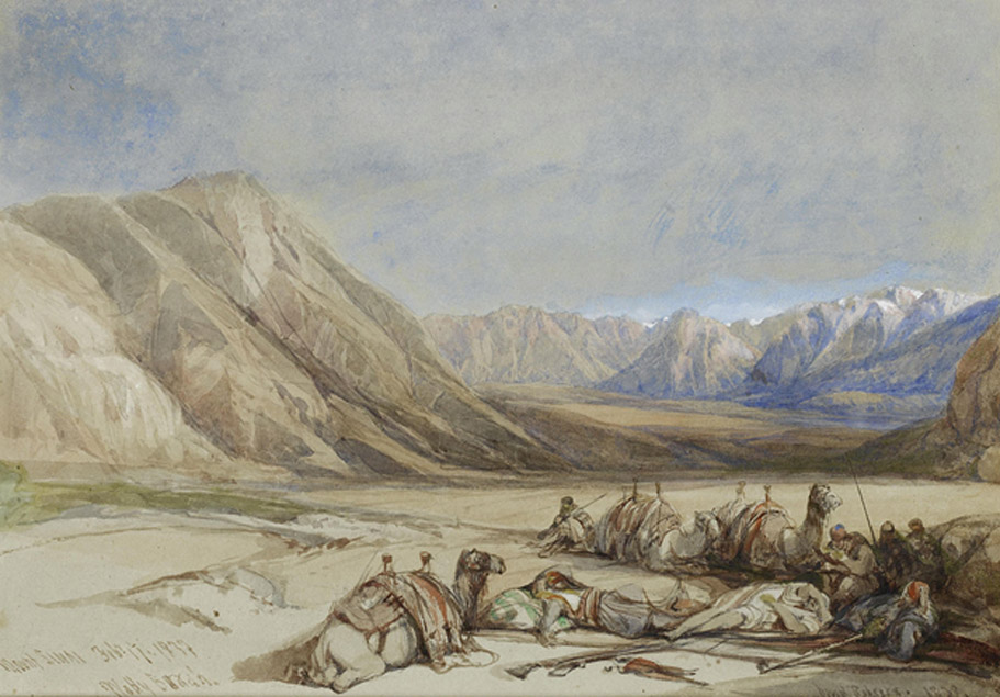 The approach to Mount Sinai, painting by David Roberts