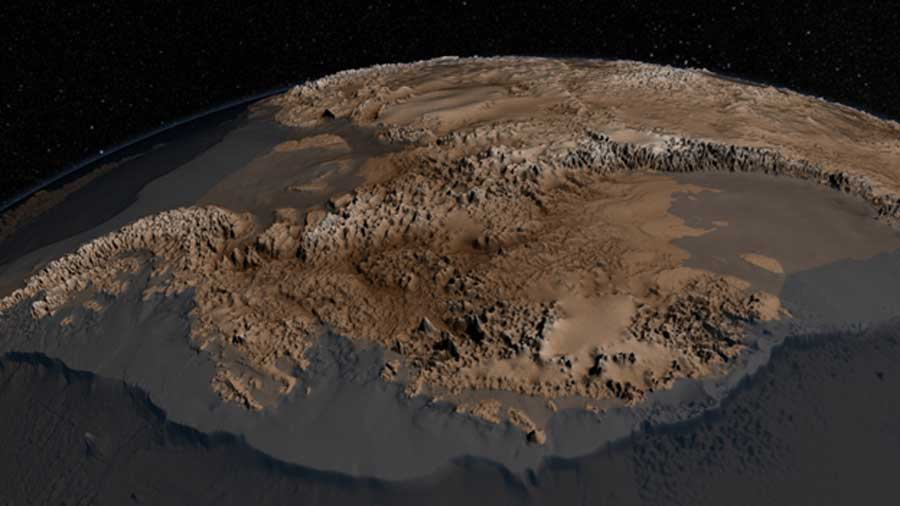 The bedrock topography of Antarctica, critical to understand dynamic motion of the continental ice sheets (NASA/Public Domain)