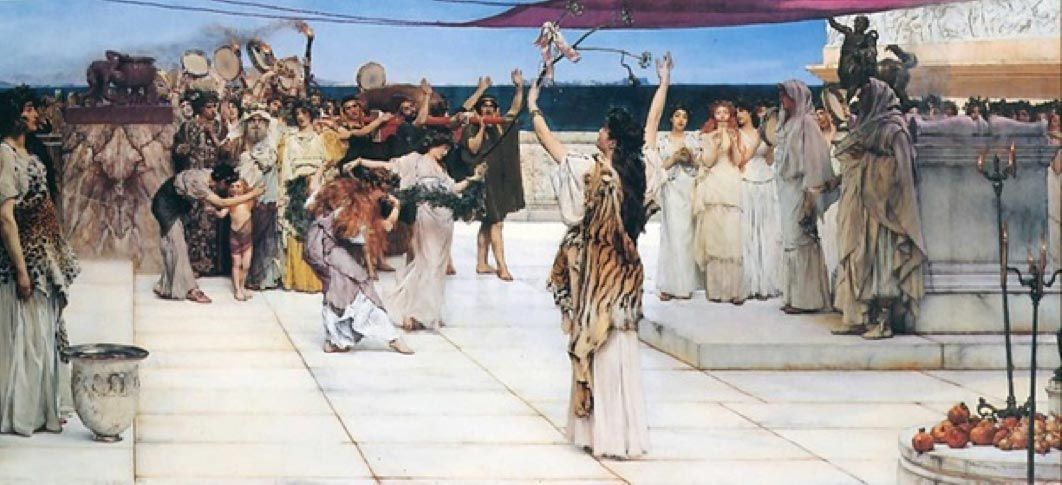 A dedication to Bacchus by Lawrence Alma-Tadema (1889)(Notice the pomegranates on the table on the right) (Public Domain)