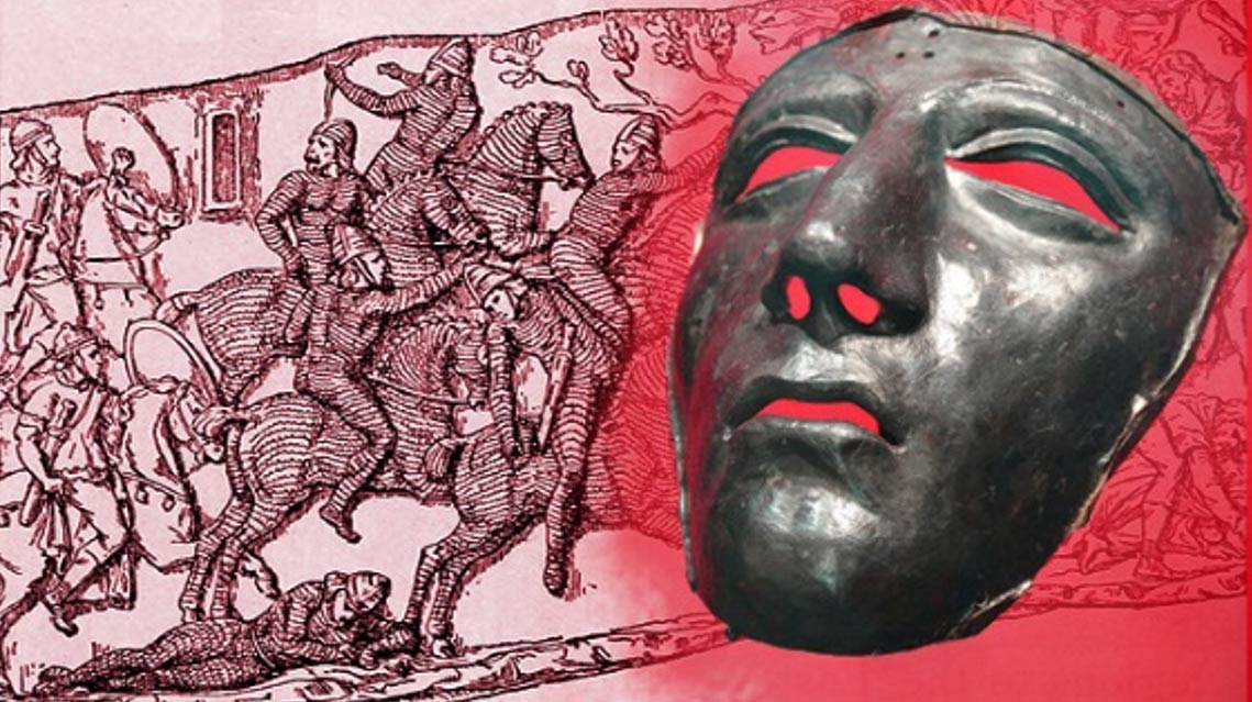 Deriv; face mask for Roman cavalry helmet, first century AD and battle scene featuring Parthian horsemen in armor, and Roman riders.