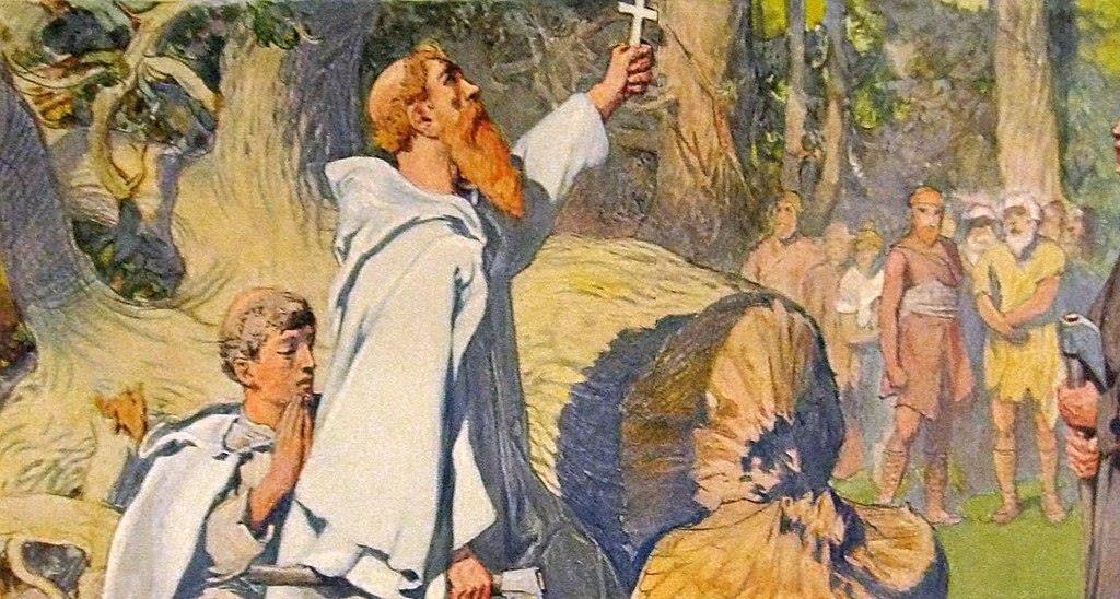 St Boniface cutting down the Oak dedicated to Thor by Emil Doepler (1905) (Public Domain)