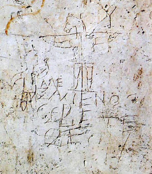 "'Alexameno worships his God' was graffitied next to an image depicting a monophonic Christ. ""Ancient Rome in the Light of Recent Discoveries"",  by Rodolfo Lancian (1898) (Public Domain)"