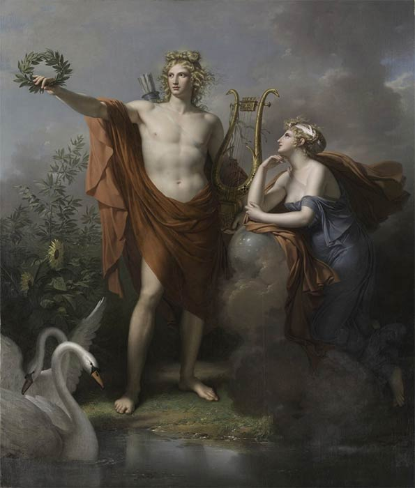 Apollo, God of Light, Eloquence, Poetry and the Fine Arts with Urania, Muse of Astronomy by Charles Meynier (1798) Cleveland Museum of Art (Public Domain)