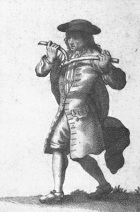 A dowser, from an 18th-century French book about superstitions (Public Domain)