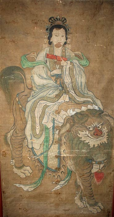 Taoist Immortal Painting of Queen Mother of the West Riding Foo Dog (Anton biederwolf/ CC BY-SA 4.0)
