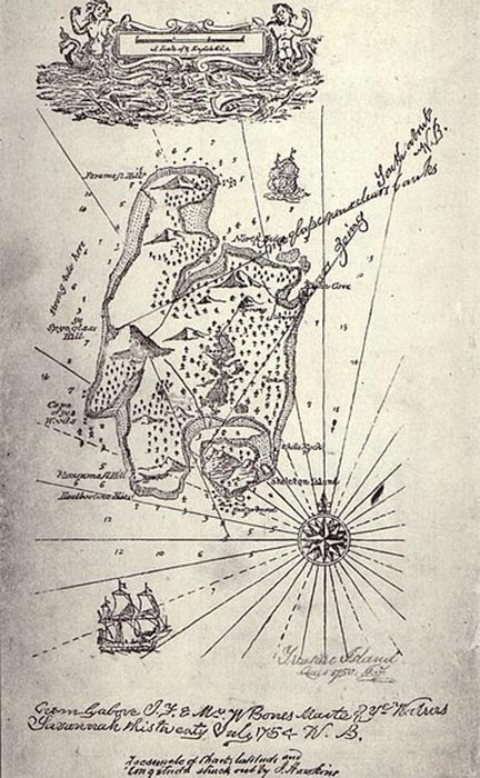 Perhaps the epitome of fictional treasure maps, created by Robert Louis Stevenson and published in 'Treasure Island'. From the first German edition in 1883, 'where the X-marks the spot' archetype was born. (Public Domain)