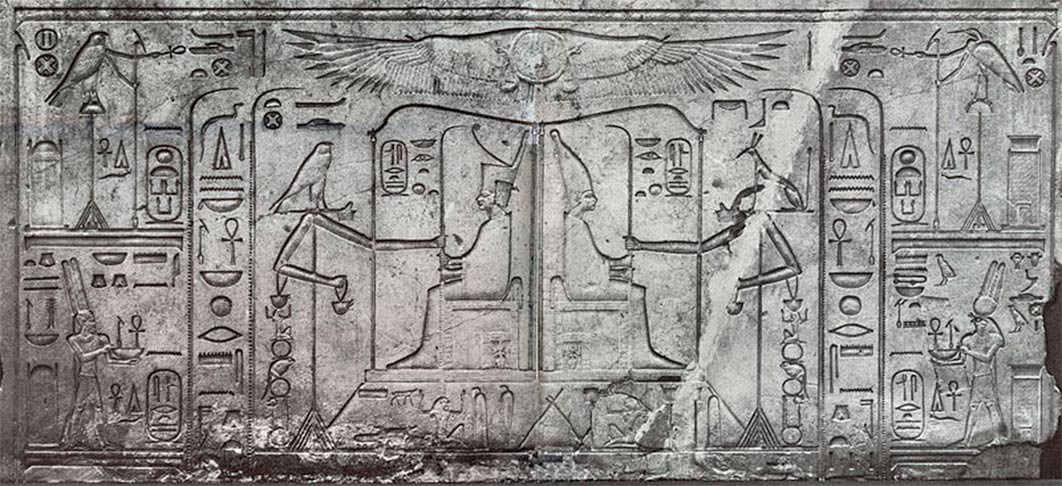 Depiction of the Heb-Sed of Senusret III (1878-1839 BC) showing the king in his baldachin as both king of Upper and Lower Egypt, and receiving the gift of palm ribs from Horus and Set. These signify long rule. (Soutekh67/ CC BY-SA 4.0)